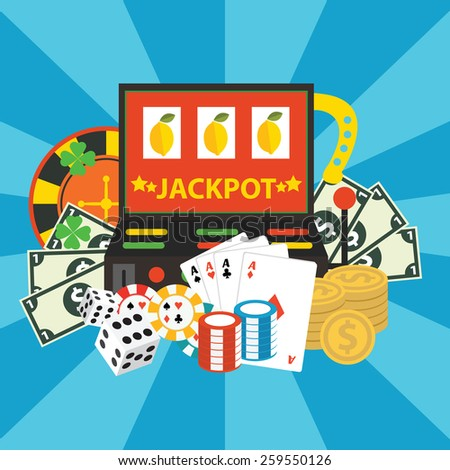 Vector gambling casino elements, jackpot - stock vector