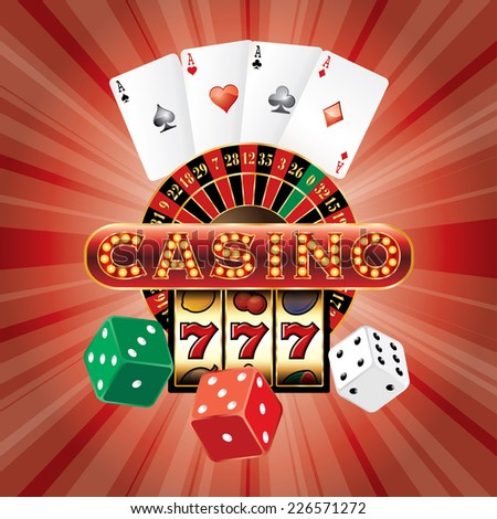 vector gambling casino elements on red burst background - stock vector