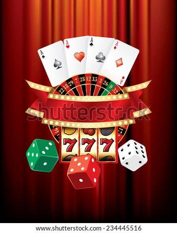 vector gambling casino elements on red velvet - stock vector