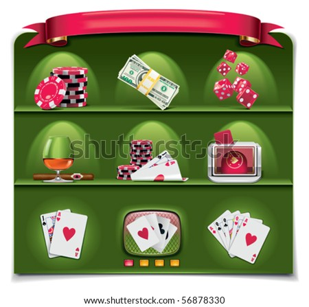 Vector gambling icon set. Part 1 (green background) - stock vector
