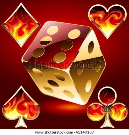 Vector gambling symbols in fire - stock vector