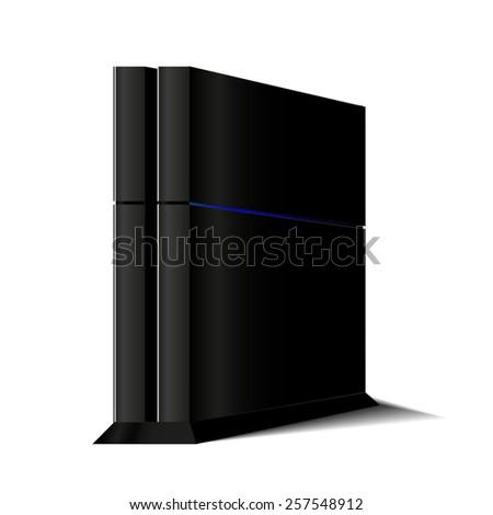 Vector game black console, computer case - stock vector