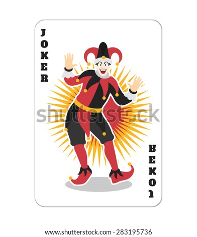 Vector game card with Joker. Flat illustration - stock vector