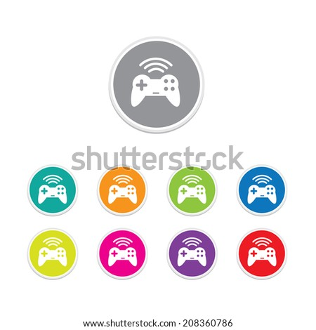 Vector - game pad wireless icon. Round stickers.  - stock vector