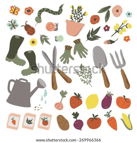 Vector Garden Icons - stock vector