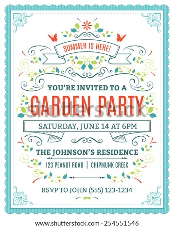 Vector garden party invitation with ornaments and ribbons. - stock vector