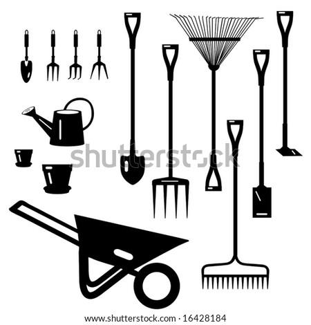 Vector Garden Tools Collection is original artwork. - stock vector
