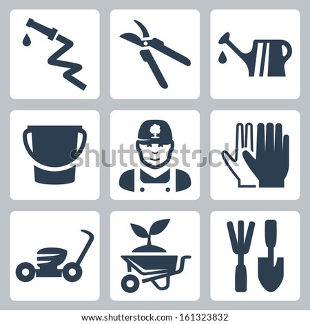 Vector gardening icons set: hose, pruner, watering can, bucket, gardener, gloves, lawn mower, wheelbarrow and plant, ripper and spatula - stock vector