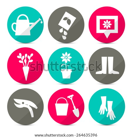 Vector Gardening Icons - Tools Set in Retro Style - Flat Design Circles Isolated on White Background - stock vector