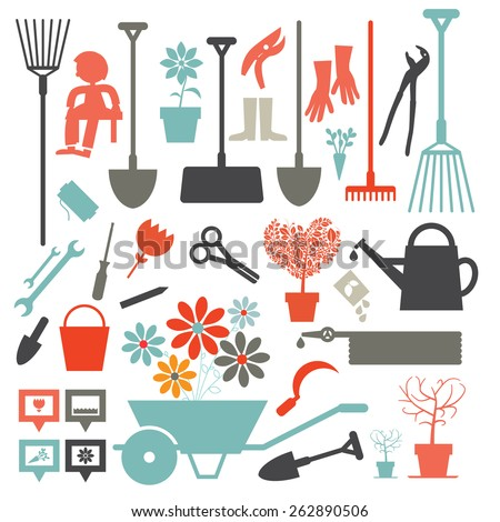 Vector Gardening Icons - Tools Set Isolated on White Background - stock vector