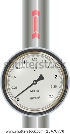 Vector gas manometer and pipe with ukrainian or russian signs - stock vector
