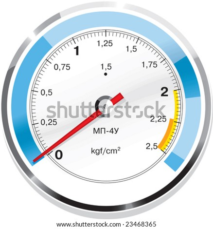 Vector gas manometer isolated with ukrainian or russian signs - stock vector