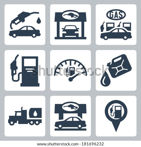 Vector gas station icons set - stock vector