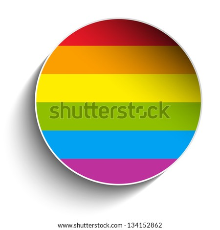 Vector - Gay Flag Circle Striped Sticker - stock vector
