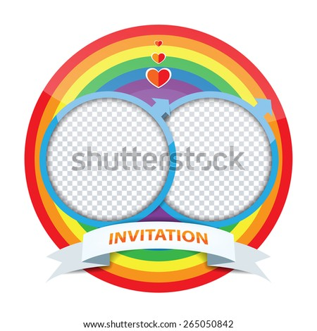 Vector gay invitation card, rainbow circle lgbt flag, invite for two gay marriage - stock vector