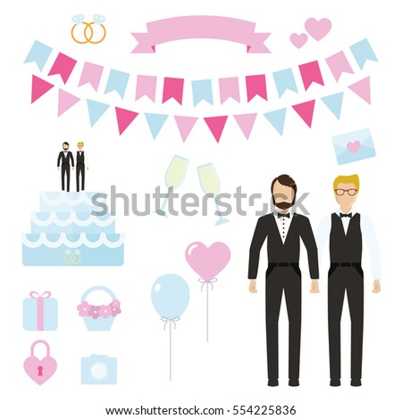 Vector gay man wedding set. Cake, flags, champagne glass and bottle, rings, heart, card, balloons.