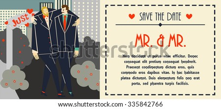 Vector gay marriage invitation. Happy gay couple celebrates love. Flat design and trendy colors. Just married hugging each other. Creamy stylish white background, horizontal format.