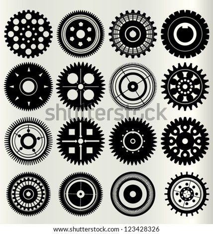 Vector gear and cogwheel set - stock vector