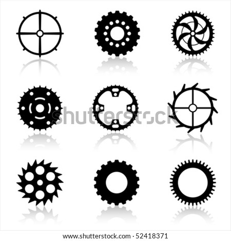 Vector gear and cogwheel set isolated on white