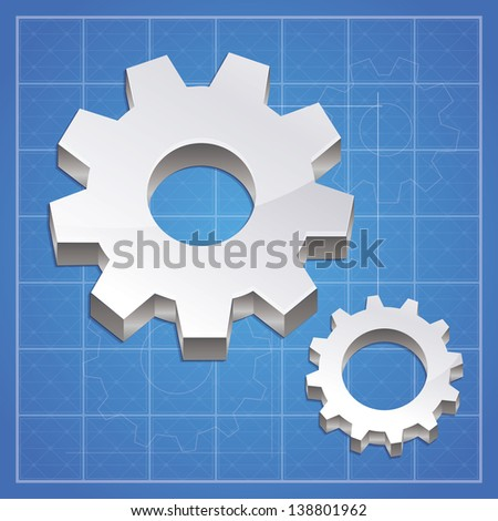 Vector gear icon  - metal signs on blue background