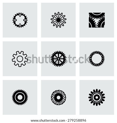 Vector Gear icon set on gray background - stock vector
