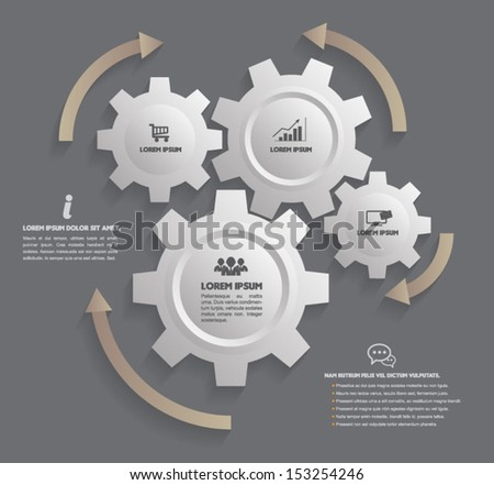 Vector gear relationship  for business concepts / can use for info-graphic / advertising printing / website / modern template / education template / business brochure /  system diagram  - stock vector