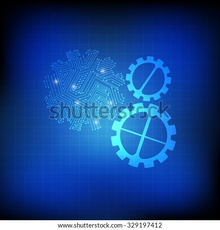 Vector : Gears and electronic circuit on grid blue background