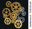 vector gears in gold and silver - stock photo