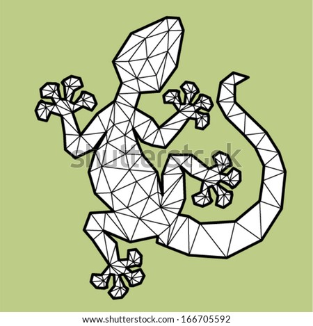 Vector - gecko geometric (illustration of a many triangles) - stock vector