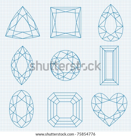 vector gemstones on graph paper - stock vector
