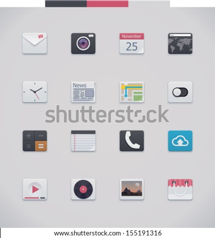 Vector generic UI icons - stock vector