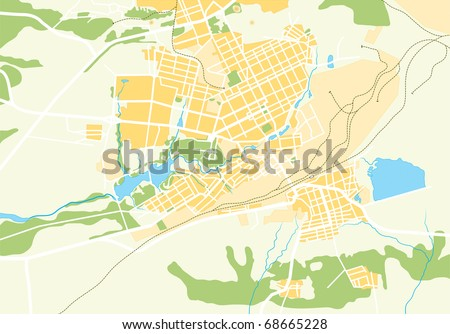 Vector Geo Map of City 2 - stock vector
