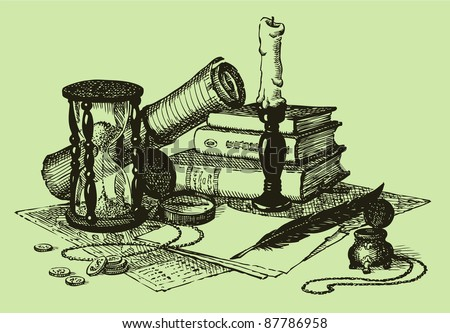 Vector geographic still life: map, compass, hourglass, books, a candle in a candlestick and a pen with ink - stock vector