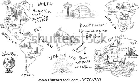 vector - geography  theme , isolated on background - stock vector