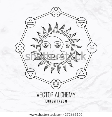 Vector geometric alchemy symbol with eye, sun, moon, shapes and abstract occult and mystic signs. Linear logo and spiritual design. Concept of imagination, magic, creativity, religion, astrology - stock vector