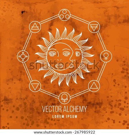 Vector geometric alchemy symbol with sun, moon, shapes and abstract occult and mystic signs. Linear logo and spiritual design. Concept of imagination, magic, creativity, astrology, man, woman, family - stock vector