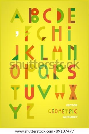 Vector geometric  alphabet - stock vector