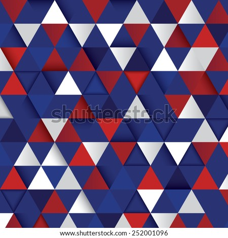 Vector geometric background from triangles in color of an Independence Day - stock vector