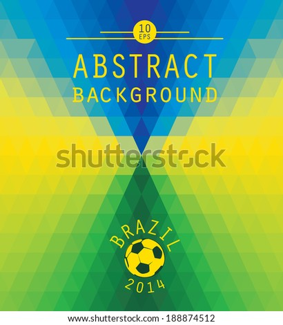 Vector geometric background in Brazil flag concept - stock vector