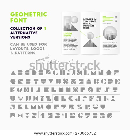 Vector geometric font collection of 3 alternative versions. High quality design element - stock vector
