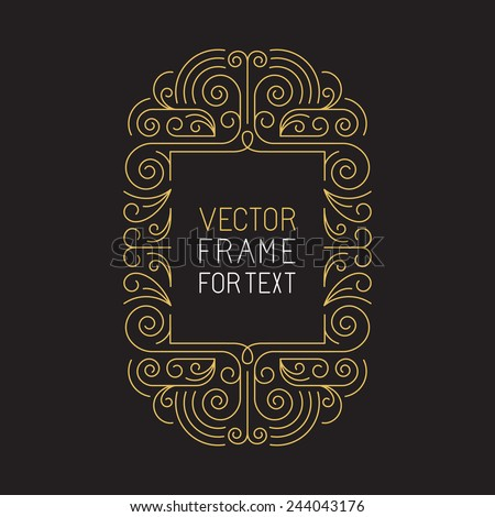 Vector geometric frame with copy space for text in trendy mono line style - art deco monogram design element in golden and black color - stock vector