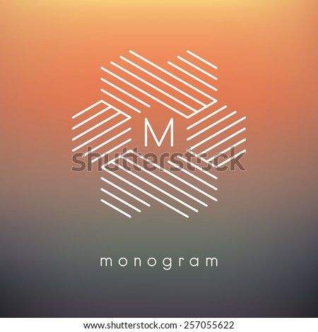 Vector geometric monogram. Modern minimalist template for branding and logo design. Modern elegant frame with striped hexagons. Blurred orange and brown backdrop. Contemporary graphic design. - stock vector