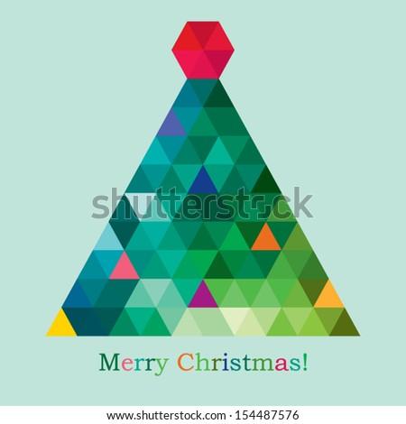 vector geometric new year tree - stock vector