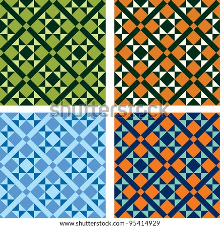 vector geometric pattern in four color variations - stock vector