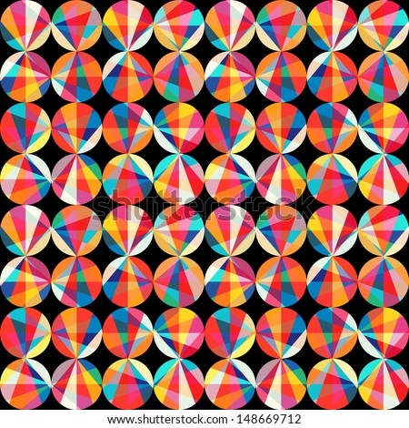 Vector geometric pattern of circles and triangles. Colored circles seamless pattern. Vintage abstract seamless pattern. Bright geometry template. Round shapes. Retro hand drawn circles ornament - stock vector