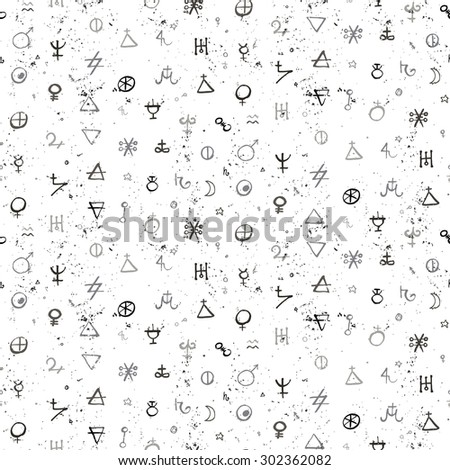Vector geometric pattern with alchemy symbols and shapes in small size. Abstract occult and mystic signs. Back of tarot cards design in black and white colors. Magic print and astrology background - stock vector