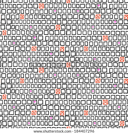 Vector geometric pattern with small hand drawn squares and randomly placed hearts and crosses on grid - stock vector