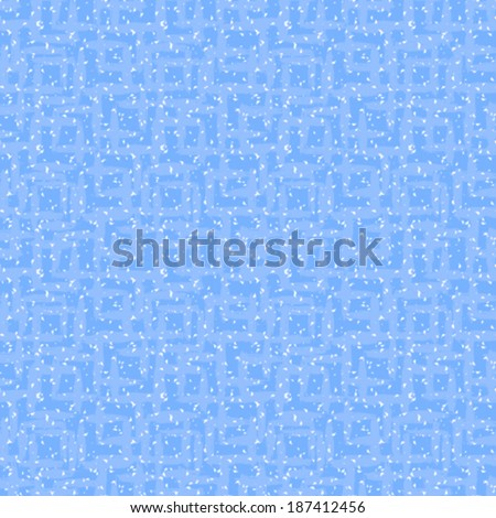 Vector geometric pattern with small hand painted squares in sky blue and white colors - stock vector