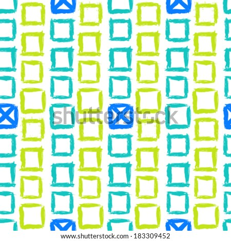 Vector geometric pattern with small hand painted squares placed in zigzag lines in bright white, green and blue  - stock vector