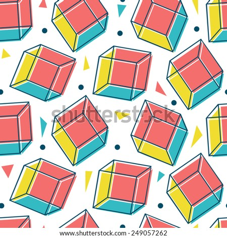 Vector geometric seamless pattern. Bright abstract texture. - stock vector